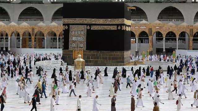 pilgrims circle kaaba along socially distanced paths in the final ritual of the hajj photo afp file