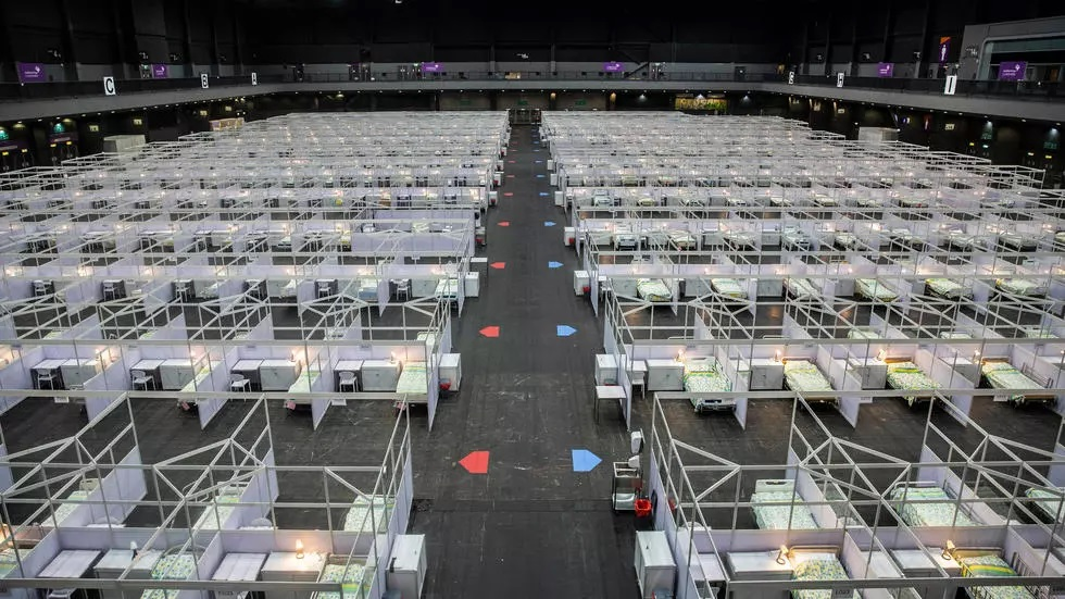 he makeshift hospital at the city's Asia World Expo exhibition centre will take in Covid-19 patients aged from 18 to 60