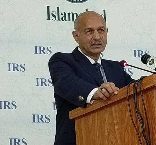 mushahid hussain syed addresses a conference titled disinformation as a tool of strategic warfare organised by the institute of regional studies irs in islamabad on february 23 2021 photo express rizwan shehzad
