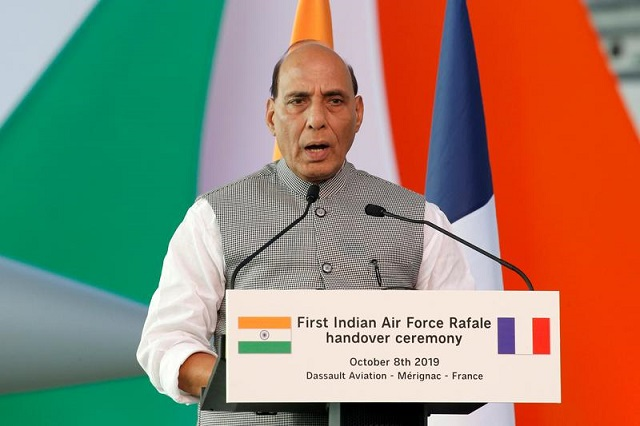 india s defence minister rajnath singh delivers a speech during a ceremony for the delivery of the first rafale fighter to the indian air force at the factory of french aircraft manufacturer dassault aviation in merignac near bordeaux france october 8 2019 photo reuters