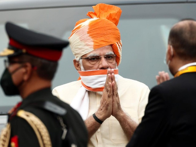 indian prime minister narendra modi greets officers as he arrives to attend independence day celebrations at the historic red fort in delhi india august 15 2020 photo reuters