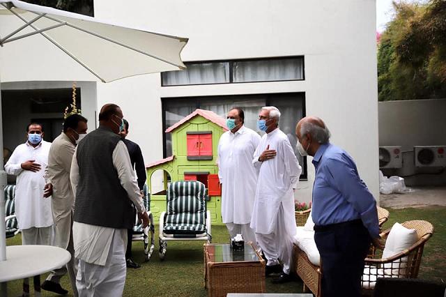 dissident leader jahangir tareen meeting pti lawmakers at his residence in lahore photo facebook jahangirktareen