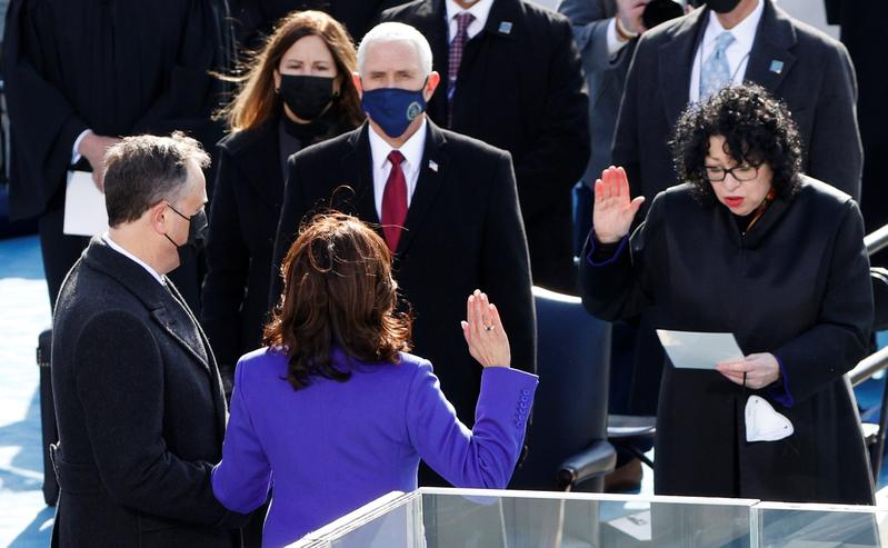 kamala harris is sworn in as us vice president during the inauguration of joe biden as the 46th president of the united states on the west front of the us capitol in washington us january 20 2021 photo reuters
