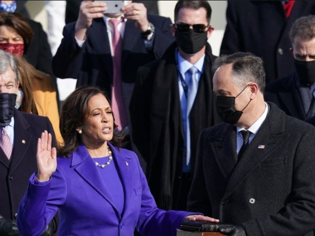 Kamala Harris is sworn in as US Vice President as her spouse Doug Emhoff holds a bible during the inauguration of Joe Biden as the 46th President of the United States on the West Front of the US Capitol in Washington, US, January 20, 2021: PHOTO: REUTERS