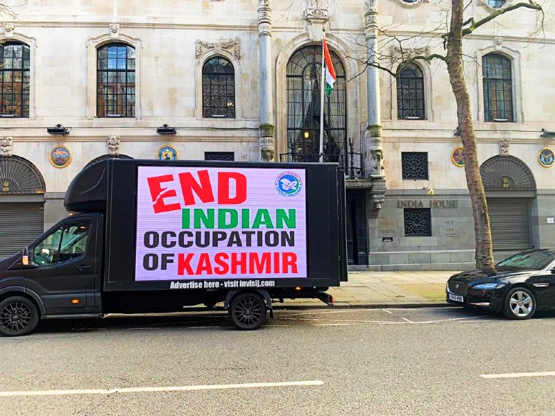 the kashmir digital van protesting outside indian high commission in london photo express