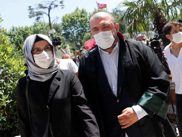 Hatice Cengiz, a fiancee of the murdered Saudi journalist Jamal Khashoggi, leaves the Justice Palace after attending a trial on the killing of Khashoggi at the Saudi Arabian Consulate, in Istanbul, Turkey, July 3, 2020. PHOTO: REUTERS