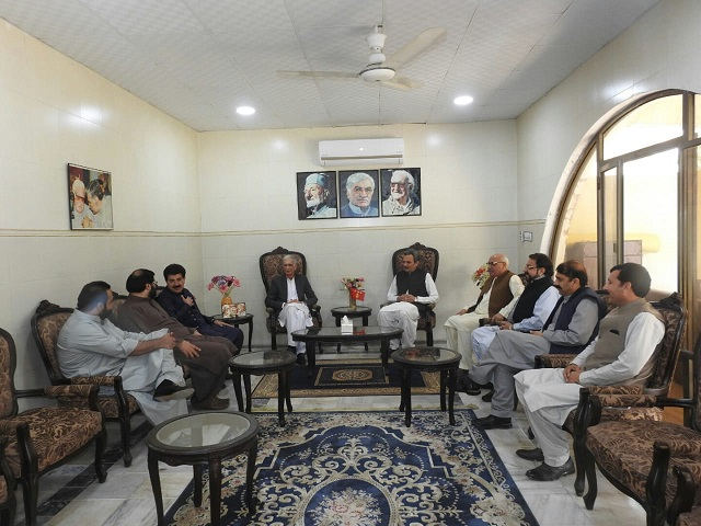 defence minister pervez khattak in a meeting with the anp representatives in peshawar on march 7 2021 photo express