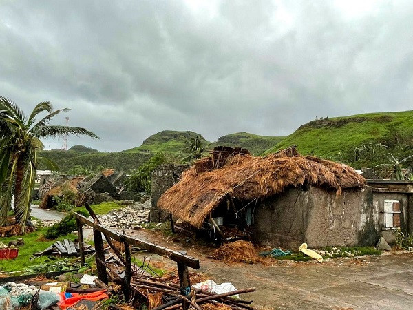 Damaged buildings and debris are seen after Typhoon Chanthu passed through Sabtang, Batanes, Philippines, in this September 12, 2021 image obtained via social media.  PHOTO: Reuters