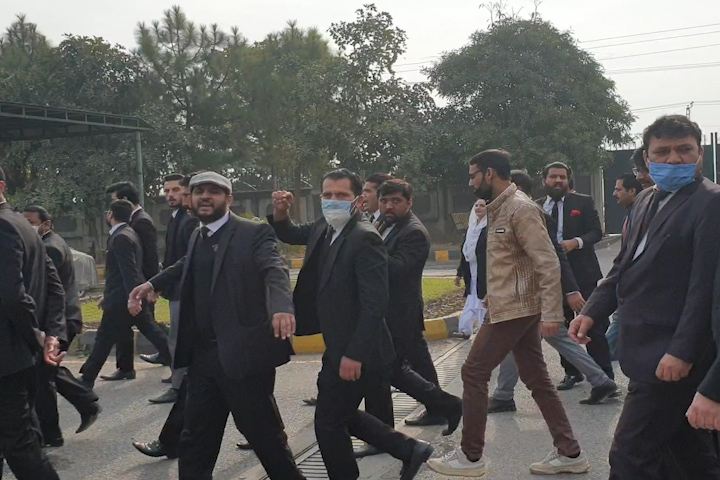 lawyers stage protest against the demolition of their chambers at islamabad katcheri here on monday photo express