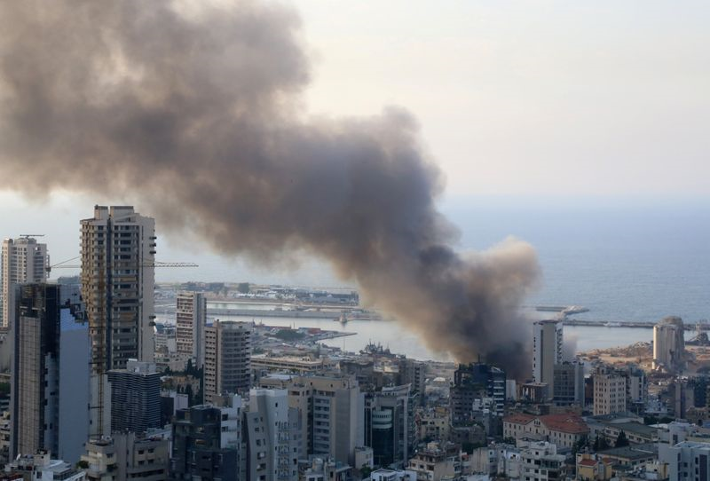 smoke from beirut port remnants of thursday fire no danger to city  source