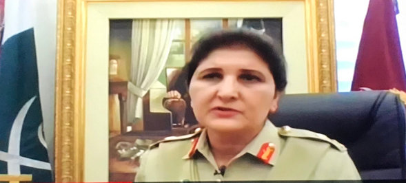 Pakistan's first female Lt Gen Nigar Johar Khan during an interview with BBC World News. SCREENGRAB