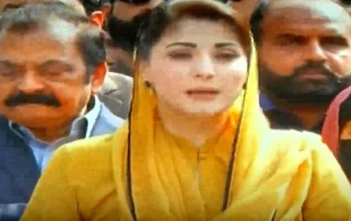 pml n vice president maryam nawaz talking to media persons in islamabad on february 24 2021 screengrab