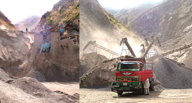crushing mountains to build buildings