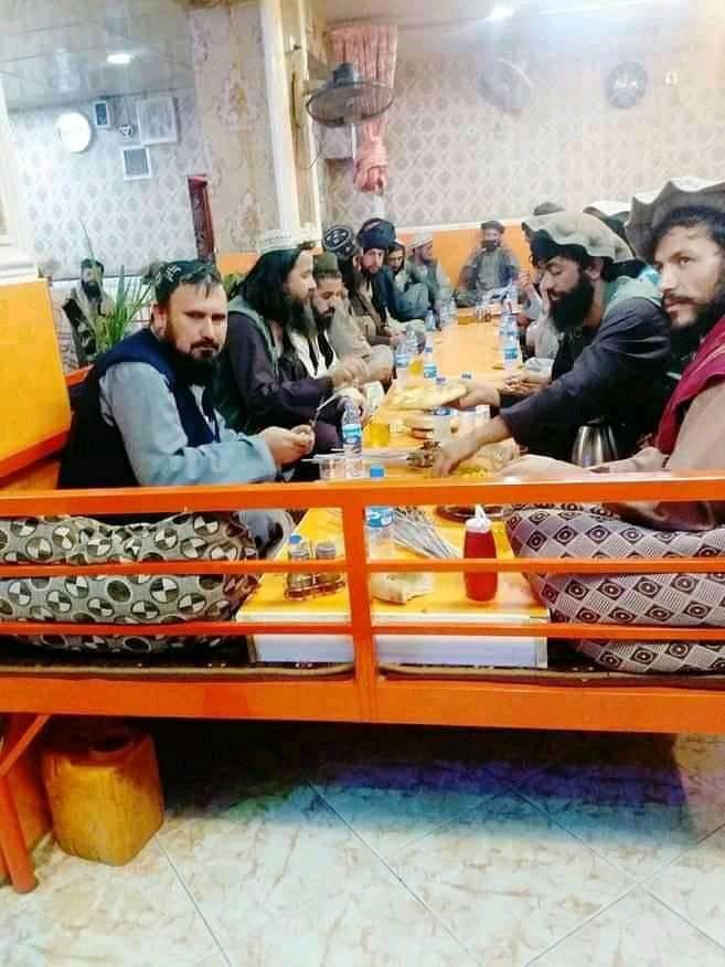Maulvi Fasihuddin, the Taliban commander who led the Panjshir campaign, is eating breakfast after the fall of Panjshir. PHOTO: EXPRESS