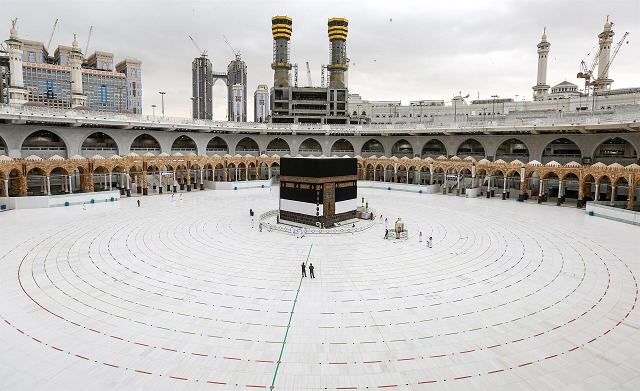 Grand Mosque in the holy city of Makkah, ahead of the annual Muslim Hajj pilgrimage, with rings laid in place around for social distancing amid Covid-19 crisis. PHOTO: AFP