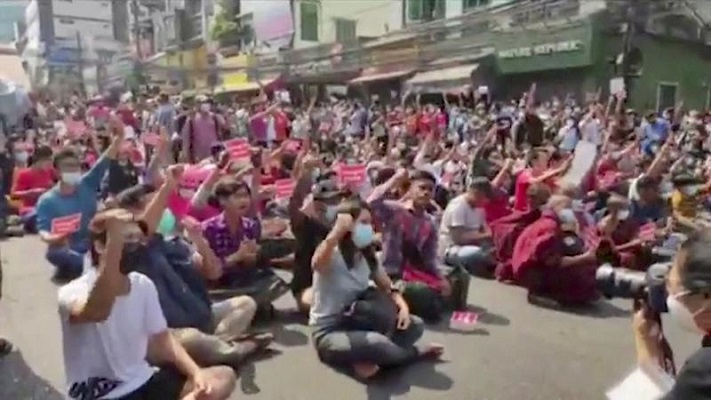 people gesture as they protest against coup in yangon myanmar february 6 2021 in this screen grab obtained from a video photo reuters