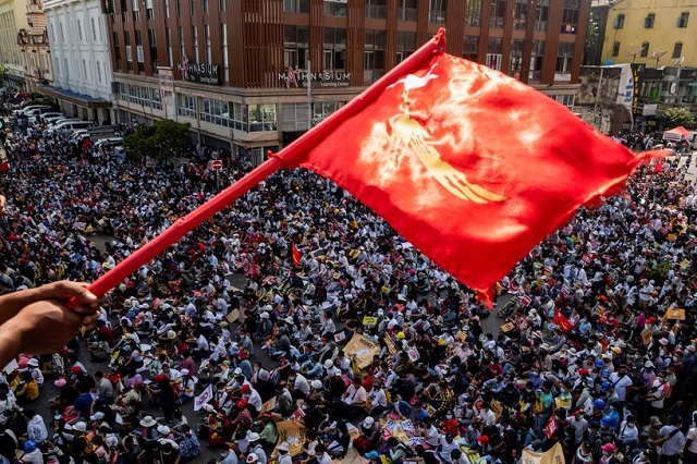 demonstrators protest against the military coup in yangon myanmar february 17 2021 photo reuters