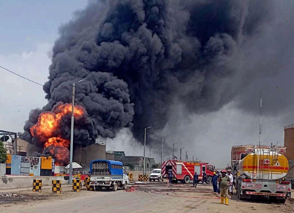 karachi oil terminal blaze suspends fuel supply