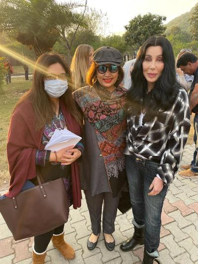 Cher takes a picture with Amna Amin and me after her tour of the Islamabad Zoo.