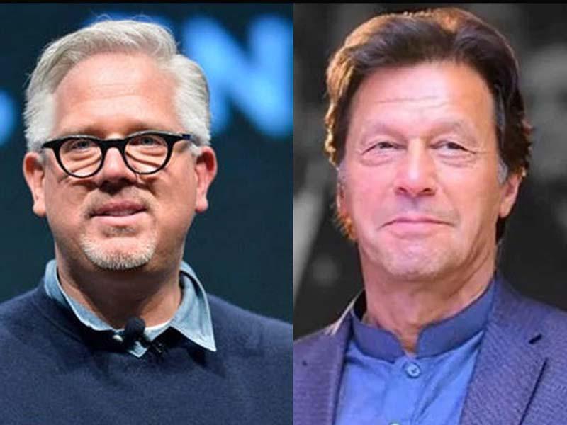 american broadcaster glenn beck l and prime minister imran khan photo file