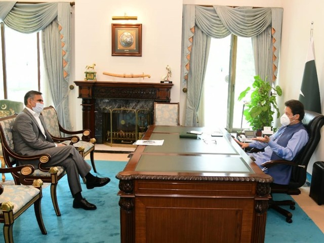 PIA CEO Arshad Malik calls on Prime Minister Imran Khan in Islamabad on July 10, 2020. PHOTO: PID