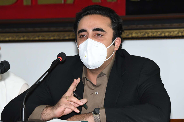 ppp chairman bilawal bhutto zardari addressing a press conference in karachi photo ppp media cell