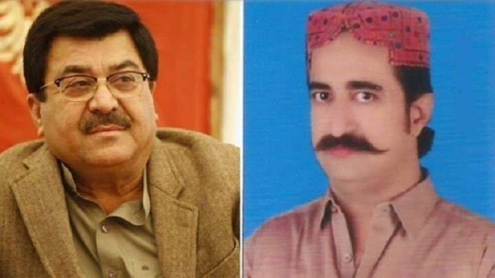 a file photo of pti s former members aslam abro and sheharyar sher photo express file
