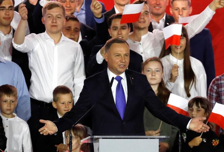 polish president and presidential candidate of the law and justice pis party andrzej duda speaks after the announcement of the first exit poll results on the second round of the presidential election in pultusk poland july 12 2020 photo reuters