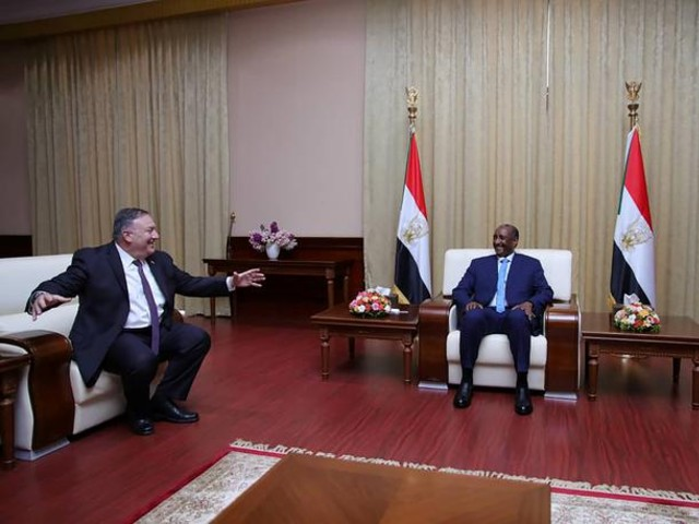 us secretary of state mike pompeo meets sudan s sovereign council chief general abdel fattah al burhan in khartoum sudan august 25 2020 photo reuters file