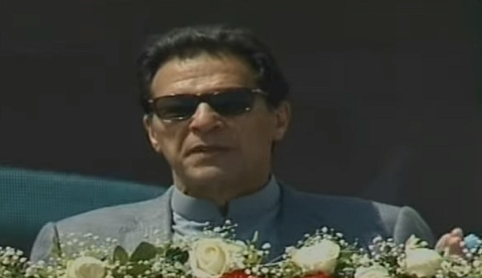 prime minister imran khan addresses a gathering related to the pm s housing scheme in islamabad on april 8 2021 screengrab