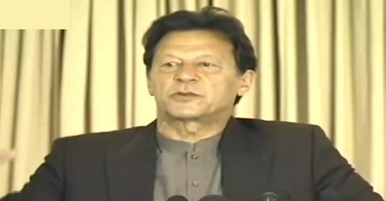 prime minister imran khan addresses a ceremony in connection with the expansion of the ehsas food provision programme in islamabad on april 11 2021 photo screengrab
