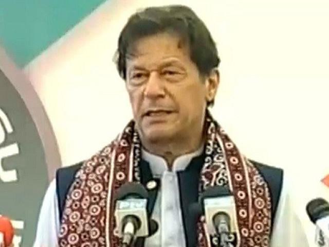 prime minister imran khan addressing a ceremony in sukkur on april 16 2021 screengrab