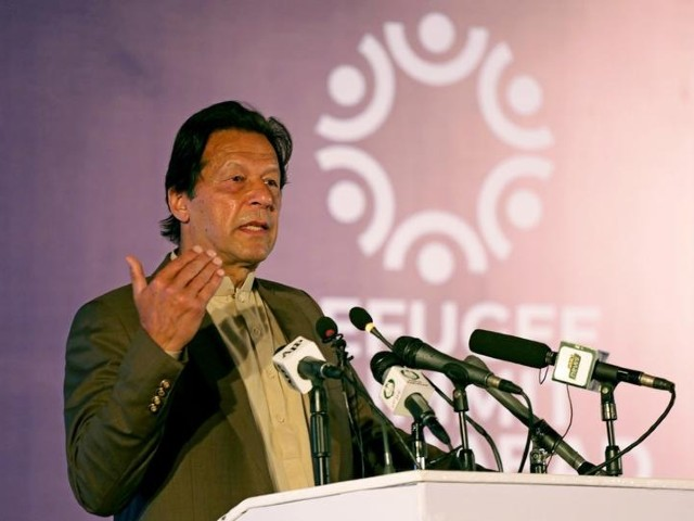 prime minister imran khan speaks during an international conference on the future of afghan refugees living in pakistan organised by pakistan and the un refugee agency in islamabad photo reuters file