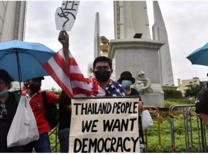 protesters gather ahead of pro democracy rally in tense bangkok