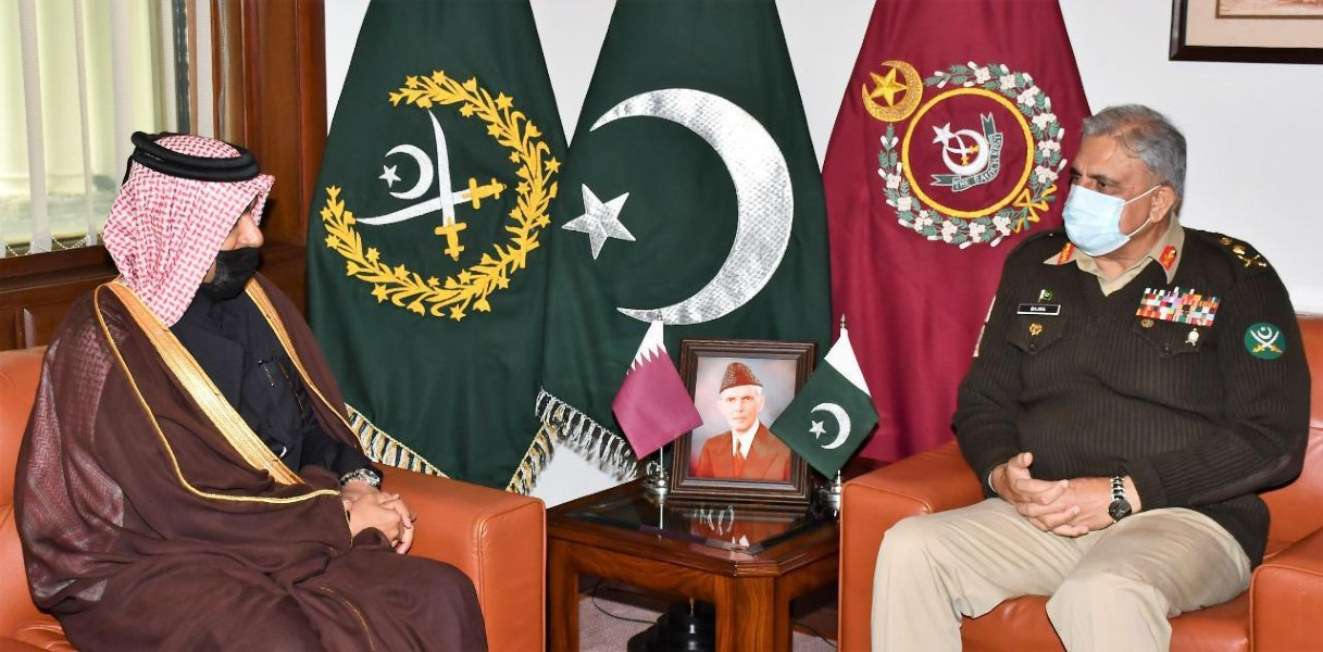 special envoy of the minister of foreign affairs of qatar dr mutlaq bin majed al qahtani called on chief of army staff coas general qamar javed bajwa at ghq photo ispr