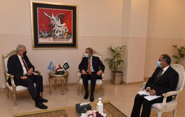 Foreign Minister Shah Mahmood Qureshi and President of United Nations General Assembly Volkan Bozkir. PHOTO: APP