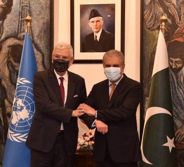 Foreign Minister Shah Mahmood Qureshi and President of United Nations General Assembly Volkan Bozkir PHOTO: APP