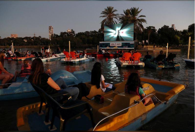 israel opens floating cinema for coronavirus safe viewing