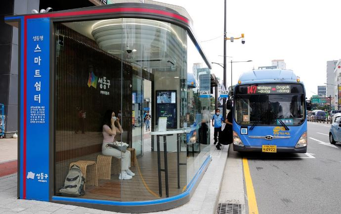 keeps out rain and covid 19 seoul tries smart bus shelter to fight virus