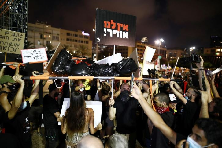 your time is up thousands protest against netanyahu over economy corruption allegations