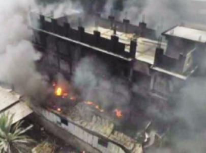 chemical warehouse goes up in smoke in karachi