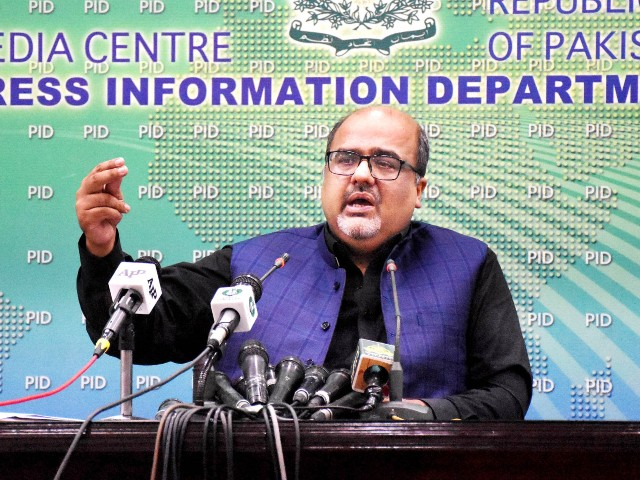 special assistant to the prime minister on accountability and interior barrister mirza shahzad akbar addressing a press conference in islamabad on july 17 2020 photo pid