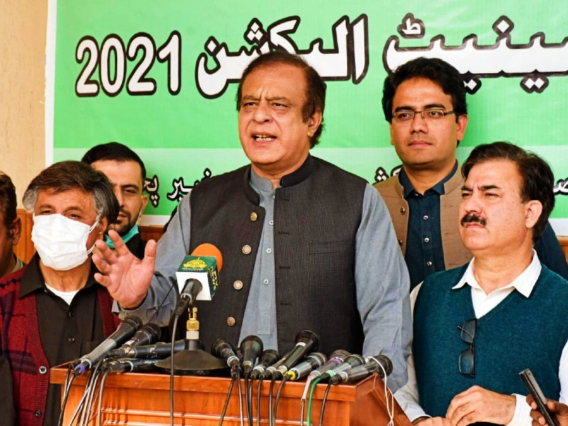 federal minister for information and broadcasting senator shibli faraz talking to media in peshawar on february 13 2021 photo pid