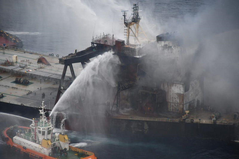 sri lanka tows stricken oil tanker out to sea douses fire