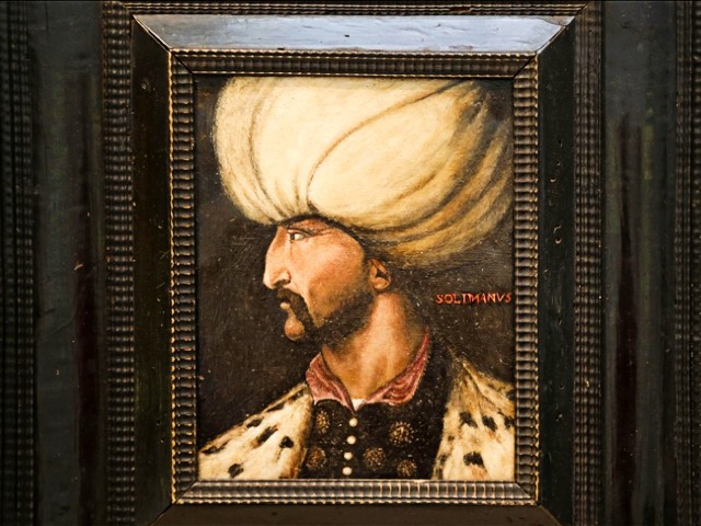 newly discovered 16th 17th century portrait of suleyman the magnificent is seen before it was auctioned at the sotheby s auction house with the name of arts of the islamic world india composed of 183 artifacts in london united kingdom on march 29 2021 photo aa