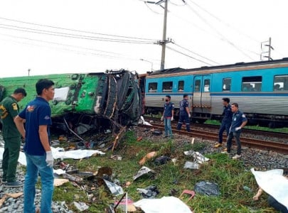20 killed on temple trip in thailand as bus train collide