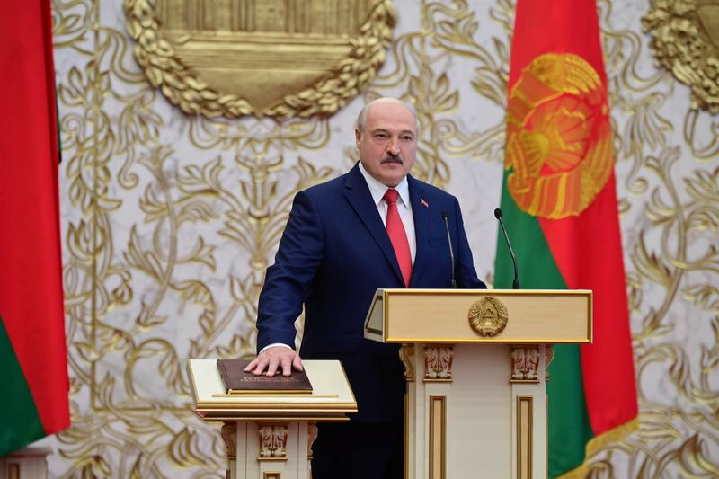 alexander lukashenko takes the oath of office as belarusian president during a swearing in ceremony in minsk belarus september 23 2020 photo reuters