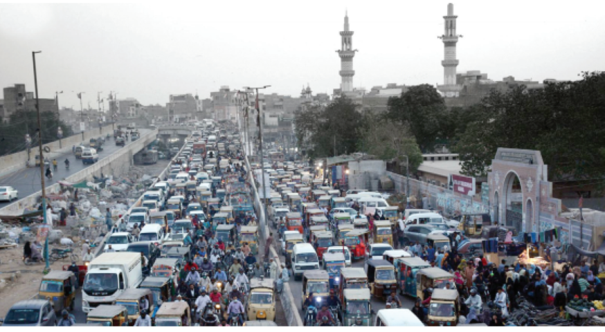 at a standstill traffic was brought to a standstill on multiple thoroughfares of the metropolis on monday citizens many of whom had stepped out for ramazan shopping were stranded for hours as the logjam persisted throughout the evening photo inp