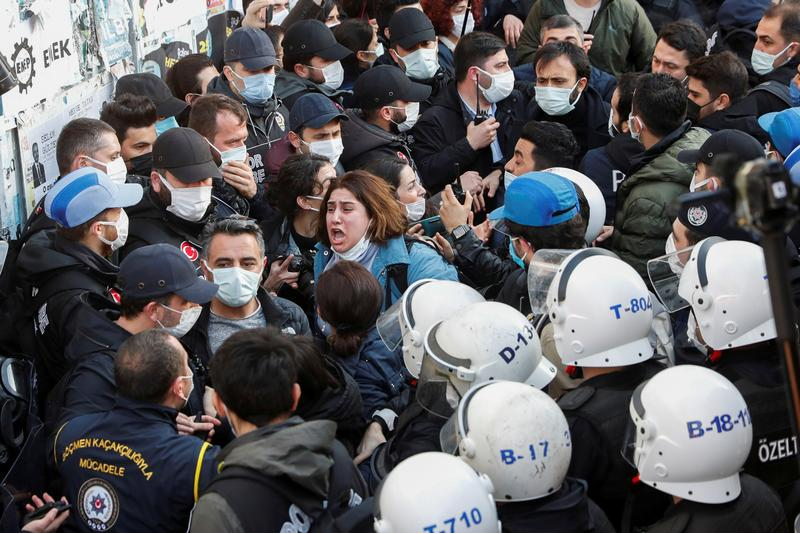 supporters of the hdp scuffle with police officers as they gather to support bogazici university students in istanbul turkey february 4 2021 photo reuters