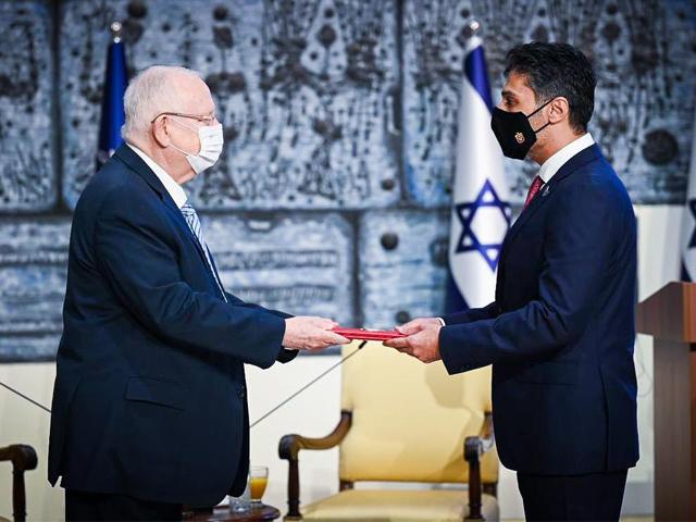 uae envoy mohamed al khaja presents his credentials to israeli president reuven rivlin photo courtesy twitter ambalkhaja